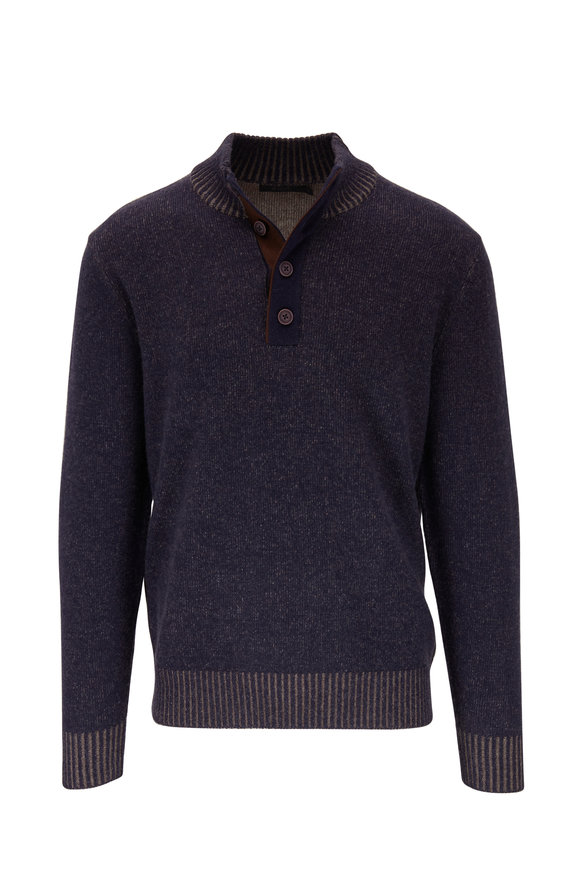 Raffi  Navy Wool & Cashmere Quarter-Button Pullover