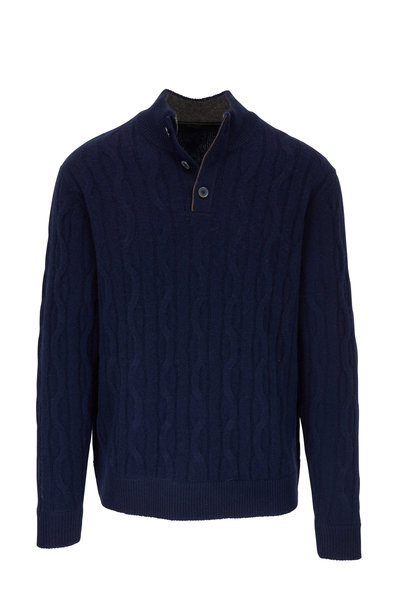 Raffi - Navy Cable Knit Cashmere Quarter-Button Pullover