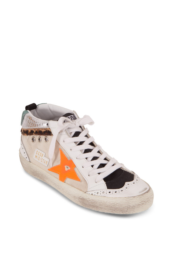 Golden Goose Mid-Star Natural Canvas Orange Star Sneaker