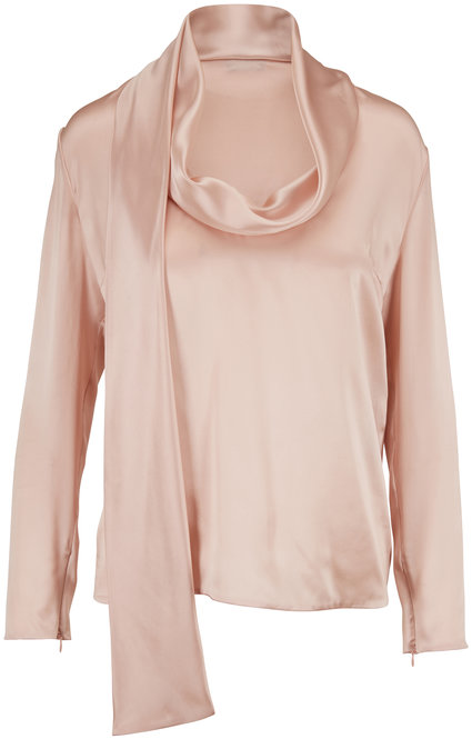 Tom Ford Blush Silk Cowl Neck Blouse