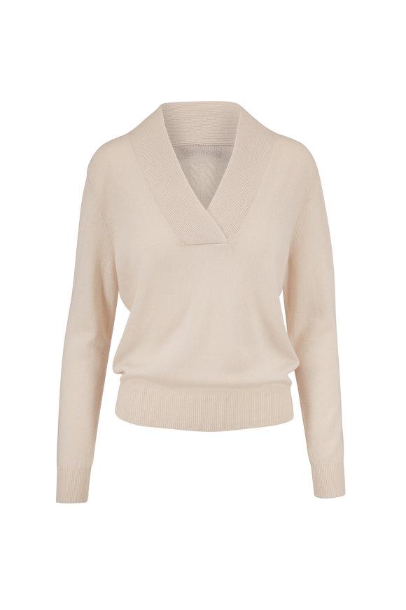 Nili Lotan Beacon Ivory Cashmere V-Neck Sweater