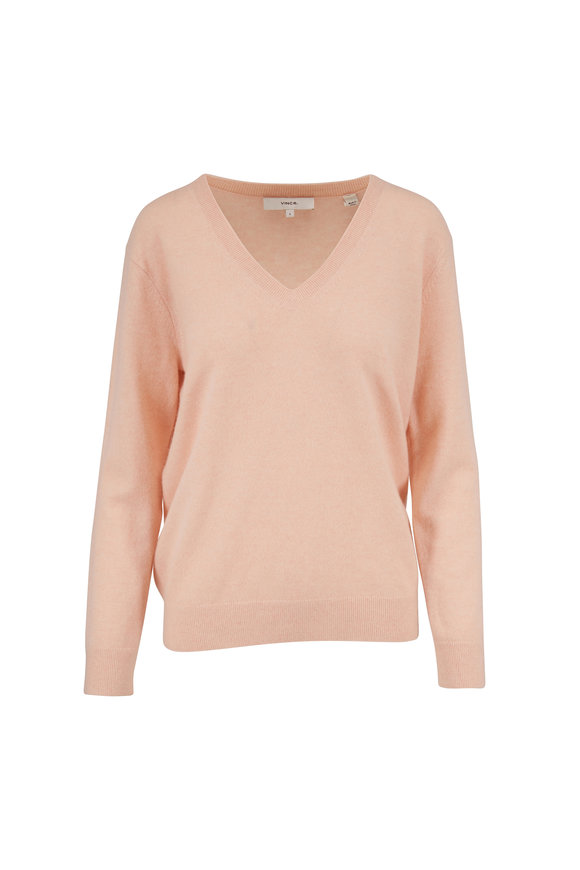 Vince Weekend Peach Sorbet Cashmere V-Neck Sweater