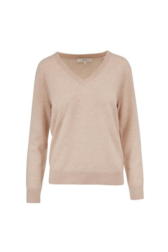 Vince Weekend Heather Dove Oak Cashmere V-Neck Sweater