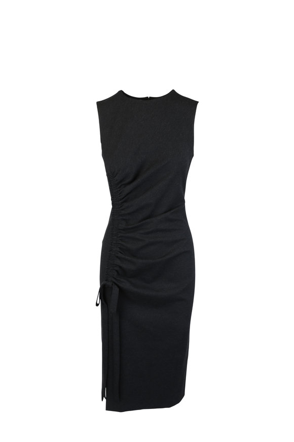 Oscar de la Renta Gray Ruched Deatail Midi Dress