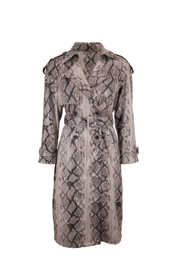 Andamane Claretta Faux Leather Serpent Print Trench Coat