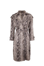 Andamane - Claretta Faux Leather Serpent Print Trench Coat
