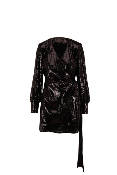 Andamane - Carly Black Sequin Wrap Long Sleeve Mini Dress