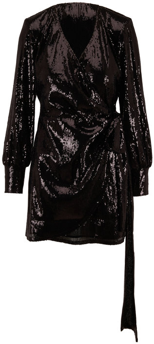 Andamane Carly Black Sequin Wrap Long Sleeve Mini Dress