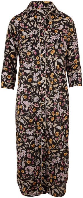 R13 Black Floral Three-Quarter Sleeve Cowboy Dress