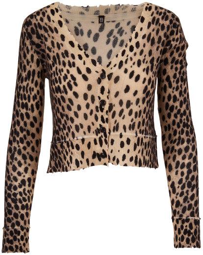 R13 Cheetah Print Cashmere Distressed Baby Cardigan