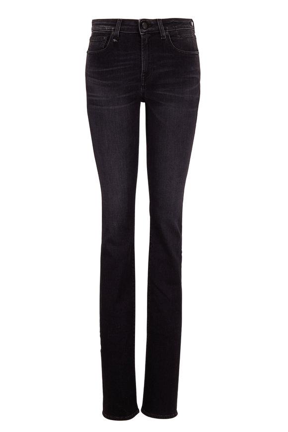 R13 Alison Rayne Black Zip Cuff Slim Fit Jean