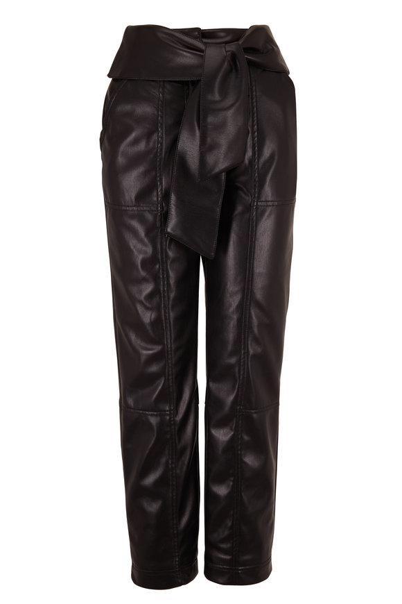 Jonathan Simkhai Black Faux Leather Tie Waist Pant