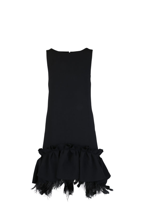Huishan Zhang Black Peplum & Feather Hem Shift Dress