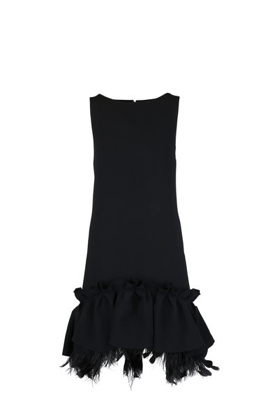 Huishan Zhang - Black Peplum & Feather Hem Shift Dress