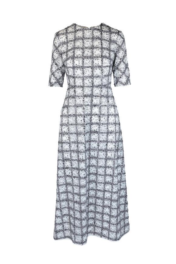 Huishan Zhang Black & White Sequined Midi Dress