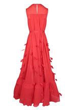 Huishan Zhang - Genevieve Red Feather Trim Dress