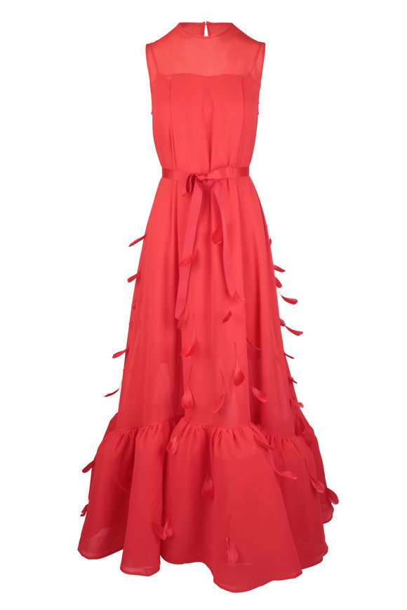 Huishan Zhang Genevieve Red Feather Trim Dress