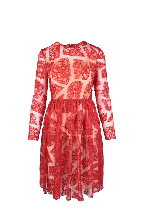 Huishan Zhang Scarlet Red Lace Dress