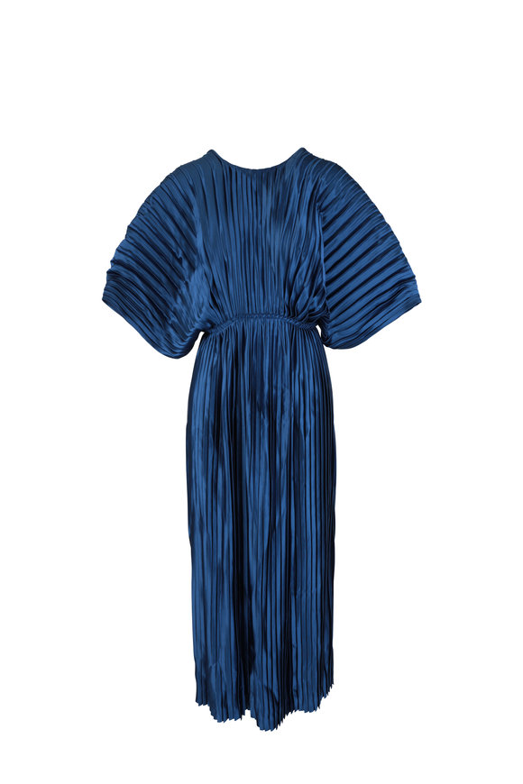Huishan Zhang Hepburn Navy Blue Pleated Dress