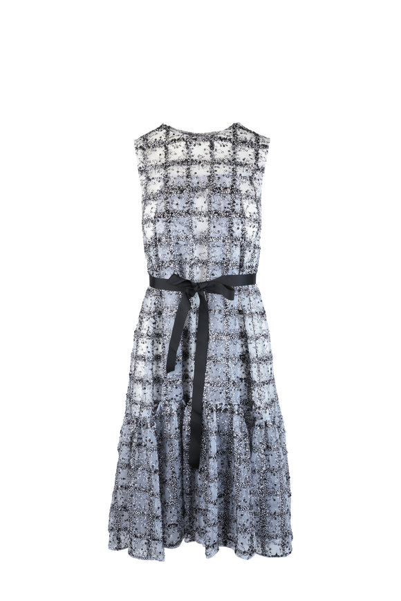Huishan Zhang Daisy Black & White Sequin Fit & Flare Dress