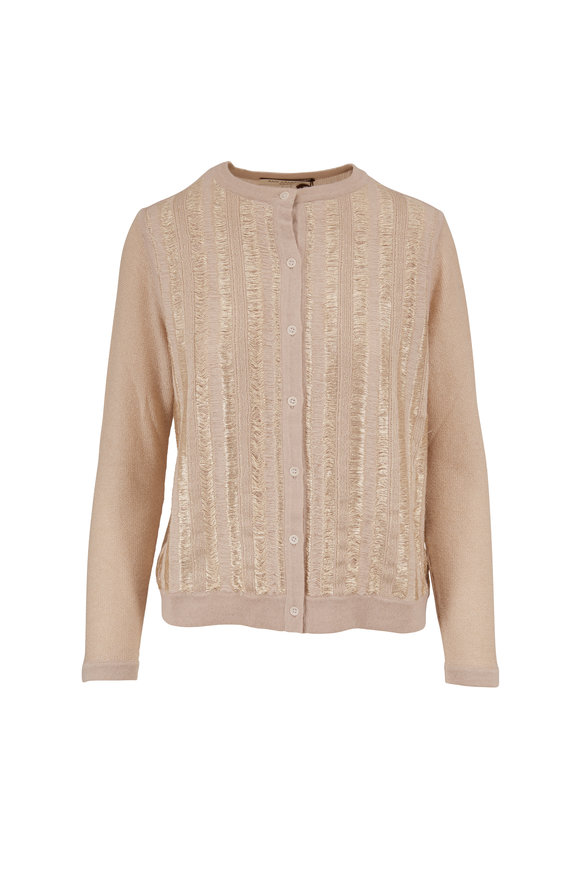 Rani Arabella Sand Cashmere & Lurex Front Button Cardigan