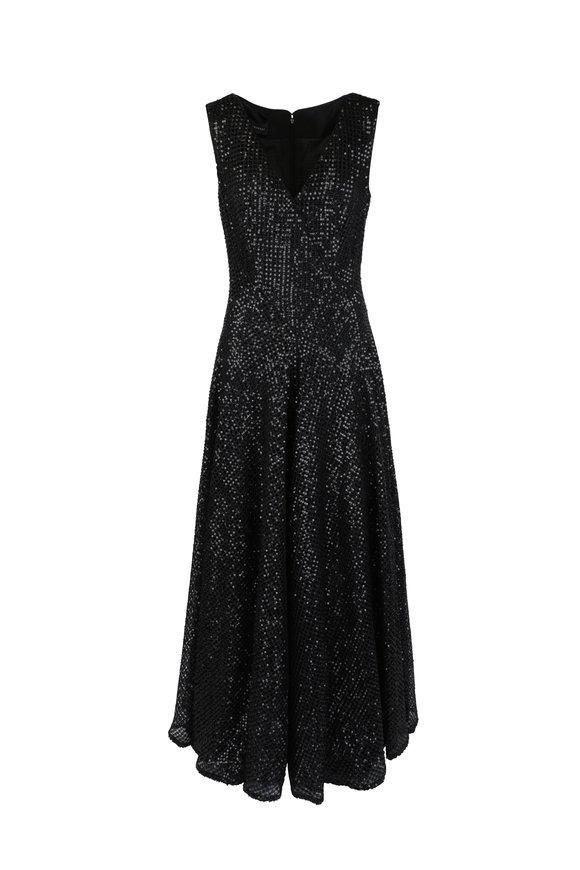 Talbot Runhof Tottori4 Black Sequin Macrame Gown
