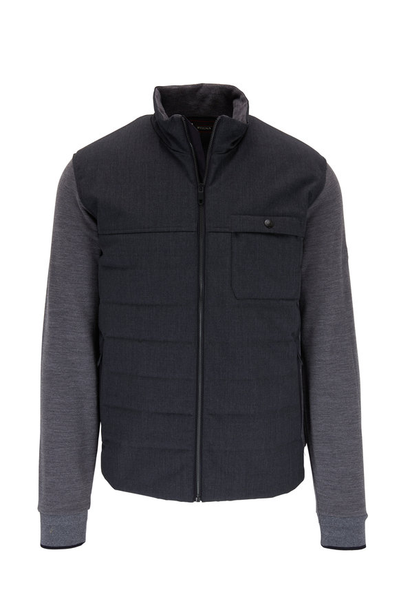 Z Zegna Charcoal Colorblock Tech Wool Jacket