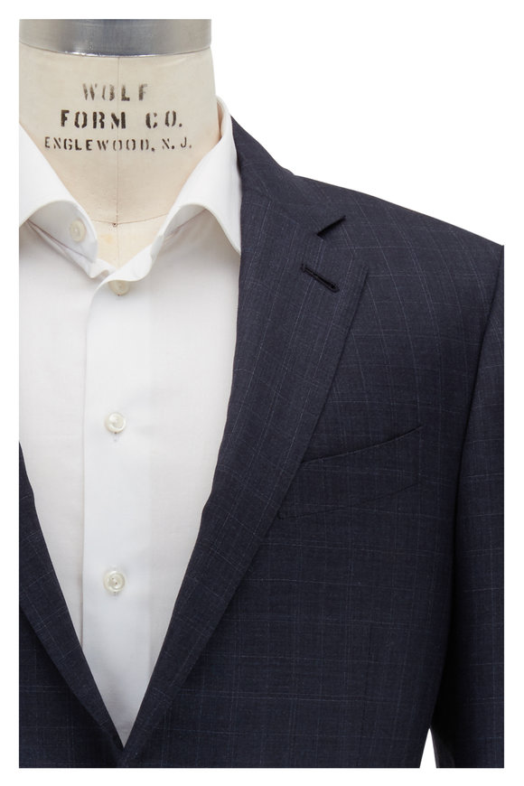 Ermenegildo Zegna Charcoal Gray Plaid Wool & Silk Suit