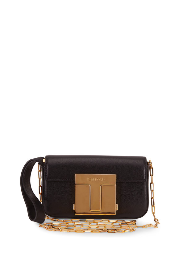 Tom Ford Black Leather T Clasp Mini Chain Crossbody Bag