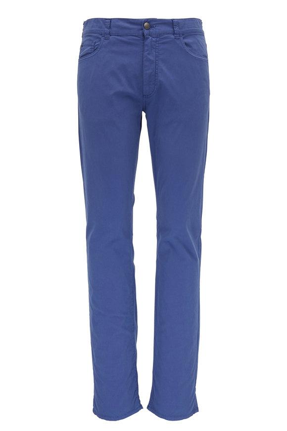 Canali Medium Blue Regular Fit Twill Five Pocket Pant