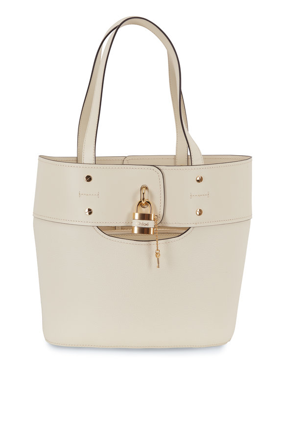 Chloé Aby Natural Leather Padlock Small Bucket Bag