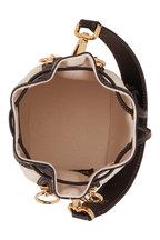Fendi - Mon Tresor White FF Embossed Canvas Bucket Bag