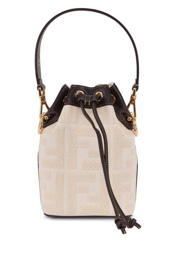 Fendi Mon Tresor White FF Embossed Canvas Bucket Bag