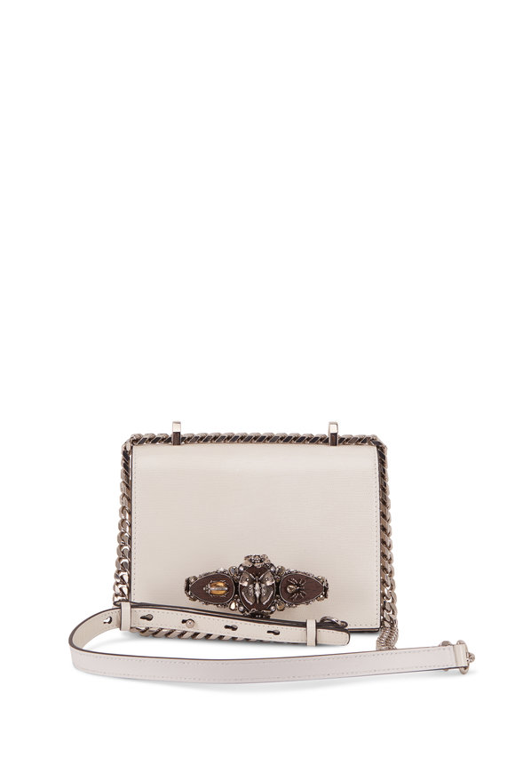 Alexander McQueen Ivory Lizard Print Bugs Jeweled Knuckle Bag
