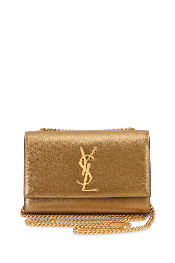 Saint Laurent Kate Metallic Bronze Leather Chain Crossbody
