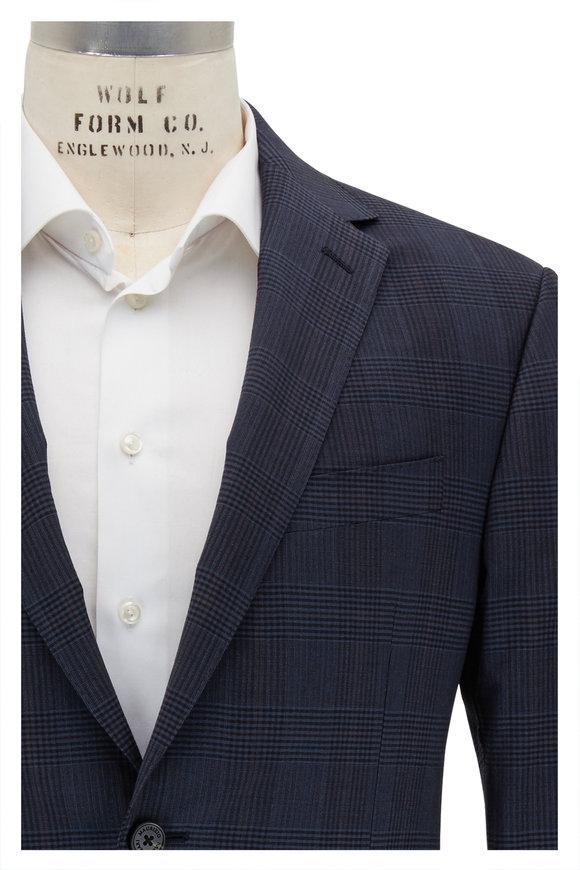 Maurizio Baldassari Blue & Navy Plaid Stretch Wool Sportcoat