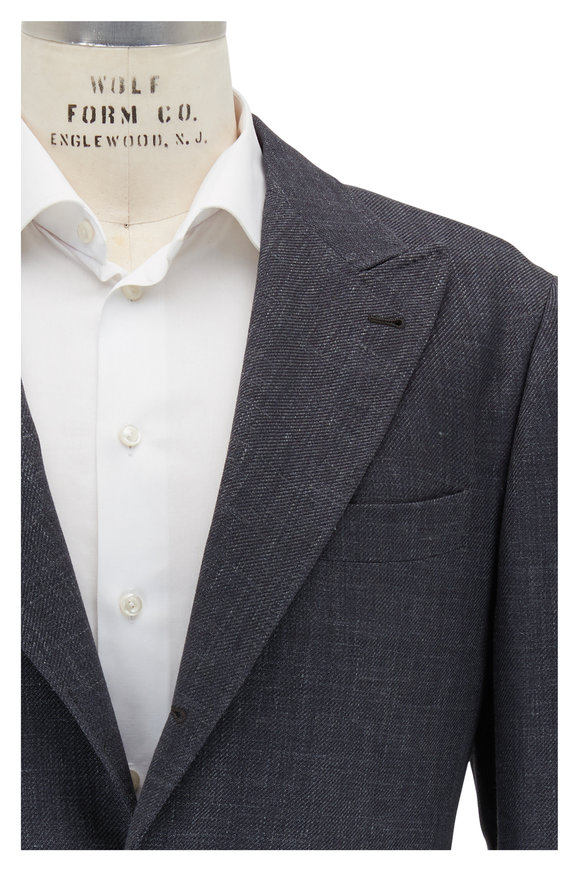 Brunello Cucinelli Charcoal Gray Wool, Linen & Silk Sportcoat