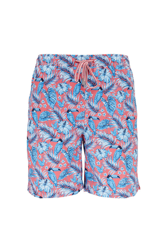 Peter Millar Seaside Collection Red Toucan Print Swim Trunks