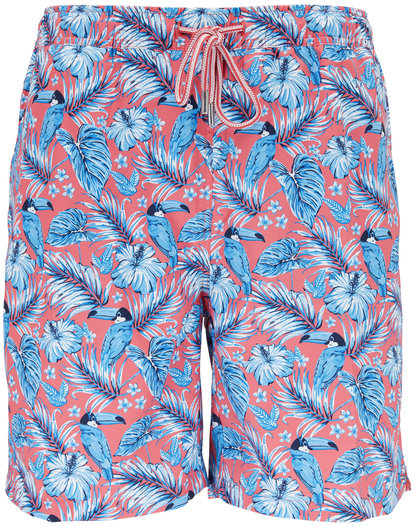 Peter Millar Seaside Collection Red Toucan Print Swim Trunks