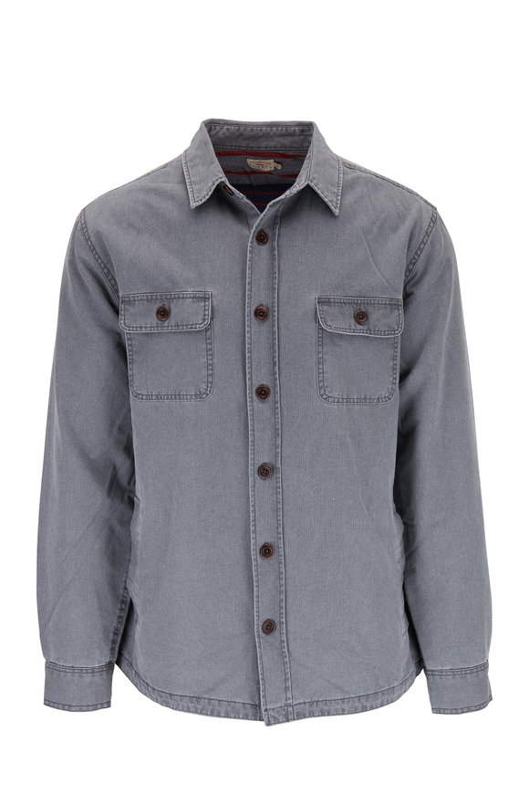 Faherty Brand Gray Blanket Lined Button Down Overshirt
