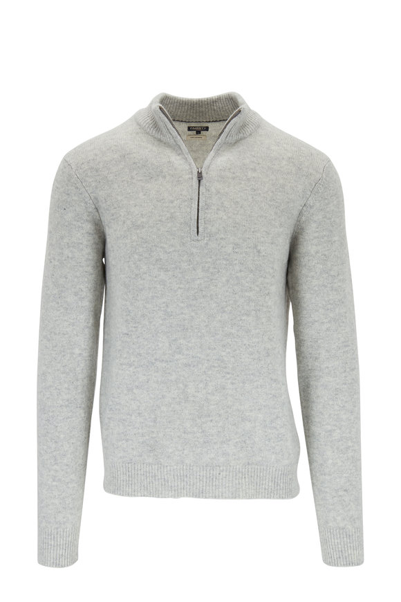 Faherty Brand Gray Heather Cashmere Quarter-Zip Pullover
