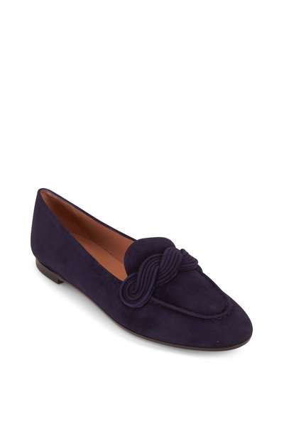 Aquazzura - Infinite Ink Suede Moccassin Loafer