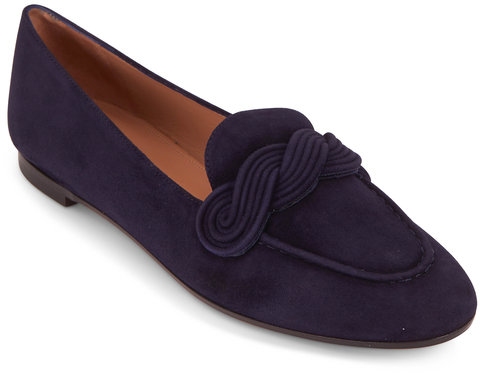 Aquazzura Infinite Ink Suede Moccassin Loafer