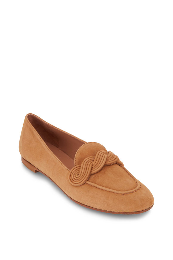 Aquazzura Infinite Camel Suede Moccassin Loafer