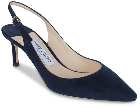 Jimmy Choo Erin Navy Blue Suede Slingback, 60mm