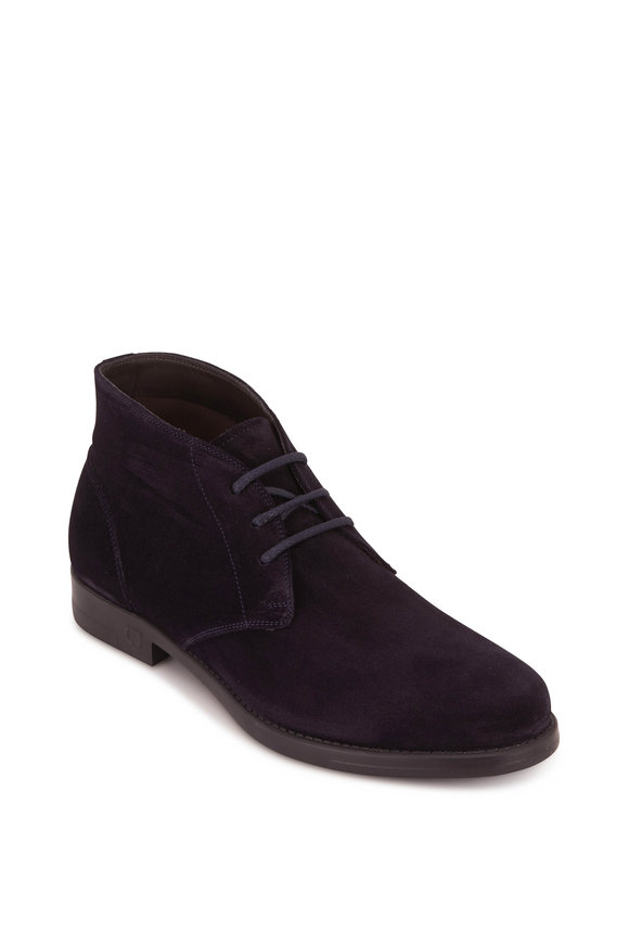 Salvatore Ferragamo Sachie 2 Dark Blue Suede Lace-Up Boot