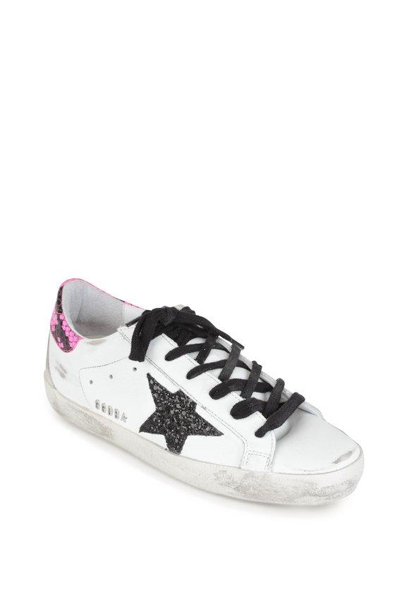 Golden Goose Superstar White Snake Print & Glitter Star Sneaker