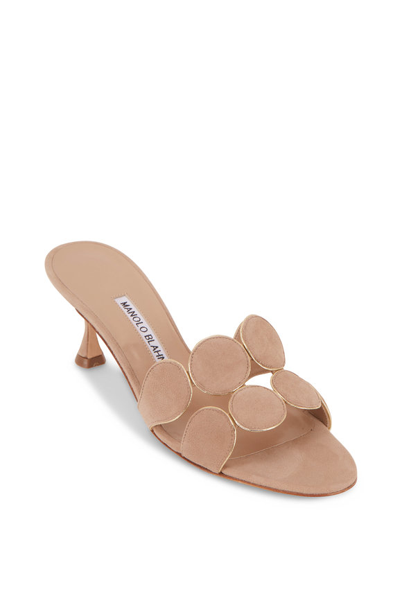Hairibal Nude Suede Piped Circle Mule, 50mm