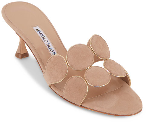 Manolo Blahnik Hairibal Nude Suede Piped Circle Mule, 50mm