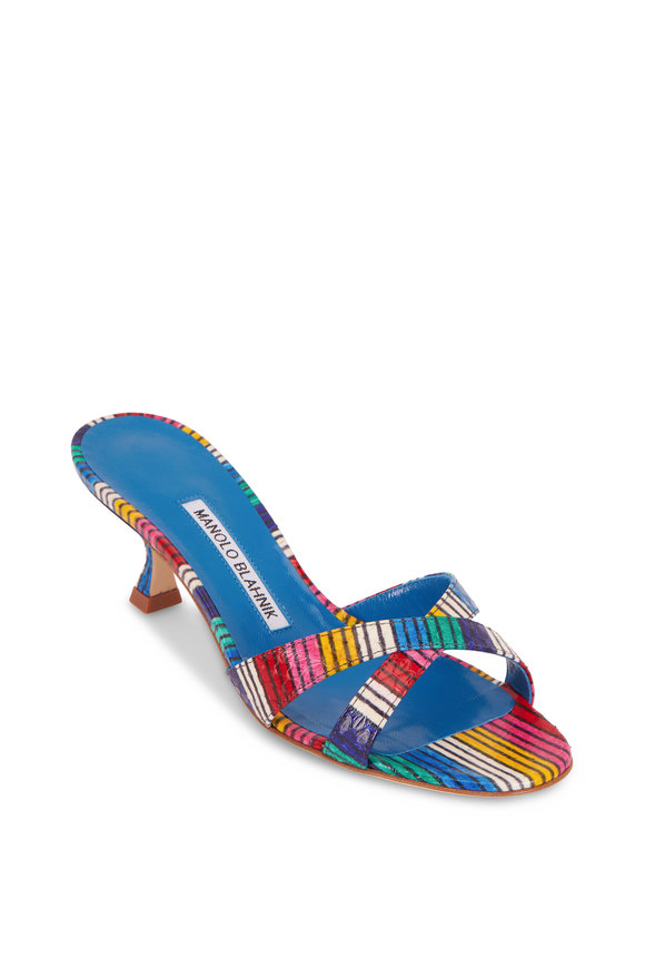 Manolo Blahnik Callamu Rainbow Stripe Snakeskin Slide, 50mm